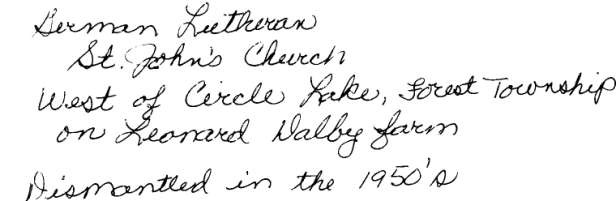 Inscription on back of Church Photo